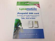 New Lycamobile Lyca Mobile Plus Trio Prepaid Sim Card Nano Micro Standard Size