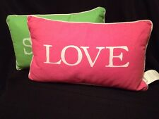 Set Of 2 Lime Green & white and Pink & White 12 x 18 Throw Pillows VGUC