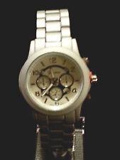 New Geneva Unisex Geneva Boyfriend Chronograph MK Style Link Watch Matte Silver