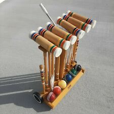 Forster 6 Player Croquet Set Wheeled Storage Rack Portland Model Made in USA