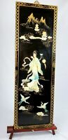Vintage Geisha dancer Mother of Pearl Black Lacquer Japanese wall art ! 34x12