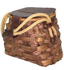 Vintage Antique Splint Creel Basket Leather Lid Hemp Rope Handle, Made in Italy