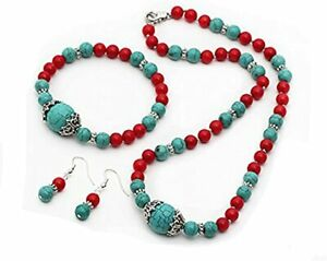 Elegant Red and Blue Turquoise Necklace Bracelet and Earrings Set for Women