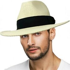 "Men's Summer Lightweight Panama Derby Fedora Wide 2-3/4"" Brim Hat"