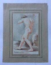 Dessin ancien d'après Le Dominiquin, Homme nu, Aquarelle et sanguine, XIXe