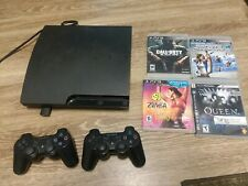 Sony PlayStation 3 Bundle PS3 CECH 3001B 2 wireles Controllers 4 Games 320 GB