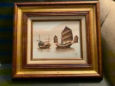 P. WONG Oil Painting on Wood Seascape Nautical Junk Boats Frame Hecho En Mexico