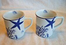 2 Fitz Floyd Everyday White Coastal Starfish & Coral 12oz Mug Set Nwt