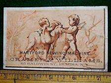 1870s-80s Hartford Sewing Machine, Cherubs With Goat, Cramer & Williams Card F6
