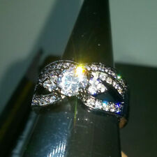LAB CREATED ROUND WHITE SAPPHIRE 2 IN 1 RING 18K BLACK GOLD FILLED SIZE S