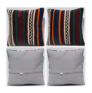 """home decorative Anatolian 2 pillow covers handmade square wool area rugs 16""""x16"""""""