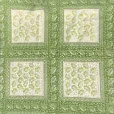 Vintage Cotton Sheet  Fabric Panel Green Tonal Quilt Sew Craft 60x60cm 4 Squares