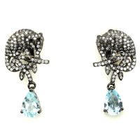 Pear Cut Sky Blue Topaz 9x6mm Cz 925 Sterling Silver Earrings
