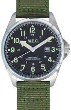 Orologio Uomo Vintage Quarzo Acciaio Militare Sportivo Subacqueo MEC Nuovo