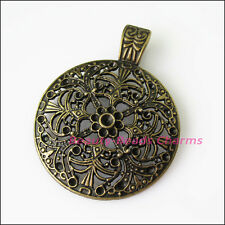 1 Antiqued Bronze Flower Round Bail Bead Fit Bracelet Charms Connector 46x59.5mm