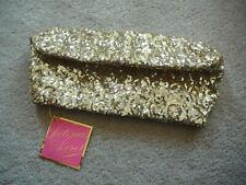 VICTORIA'S SECRET GOLD SEQUIN CLUTCH PURSE HAND BAG  SNAP CLOSURE - EXCELLENT