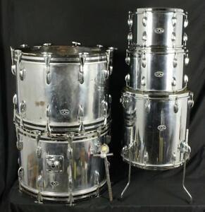 Vintage 1970's Slingerland Duet Outfit No. 14N 5pc Drum Kit Chrome Wrap Drums