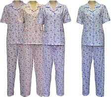Womens Pyjamas Flower Pjs Night Wear Nighty Cotton Revere Collar Short Sleeves