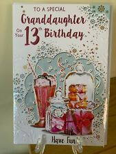 CUTE AGE 13 GRANDDAUGHTER BIRTHDAY CARD FEMALE PINK GOLD FOIL