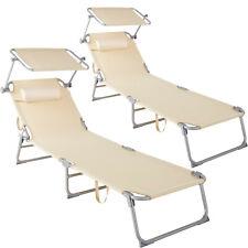 Set 2x Sedia Sdraio Parasole Esterno Arredamento Giardino Spiaggia Lettino Beige