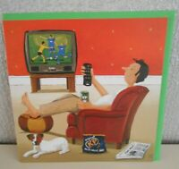 """Open Blank Card - Titled """" Happy Saturday Afternoon """" Guy sat with TV Remote"""