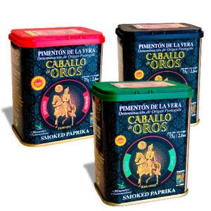 3x Caballo de Oros Geräuchertes Paprikapulver  süß , süß-sauer, scharf je  75g