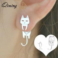 925 Silver Cute Cat Fish Stud Earrings for Women Girls Kids Gift Animal Jewelry