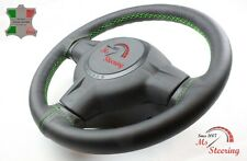 FOR JEEP COMMANDER 06-09 BLACK LEATHER STEERING WHEEL COVER, GREEN 2 STIT