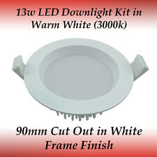 13 watt Dimmable LED Recessed Downlight Kit in Warm White Light with White Frame
