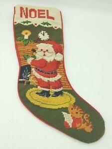 Vintage Santa Christmas Needlepoint Stocking Fireplace Kitten Imperial Elegance