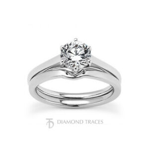 0.81ct I-SI3 Round Earth Mined Certified Diamond 18k  Ring with Matching Band