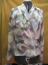 Jones NY Career Blouse 8 Polyester Lined Wrap Long sleeve Floral Multi-color