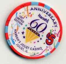 Joliet Illinois Harrah'S $5 60 Years Anniversary Il 1997 Chip