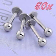 50x Wholesale Lots 16G Stainless Steel Ball Lip Tongue Labret Ring Bar Studs
