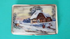 Tabak Pillen Dose  Silber Emaille  Winter Etude  Germany enamel cigarette case