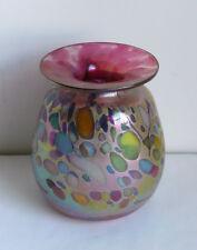 Rick Hunter Iridescent Glass Vase Pink Gold Signed
