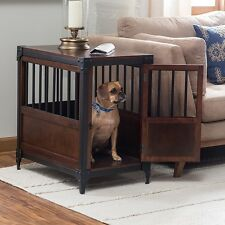 End Table Pet Crate Wood Wooden Dog Bed Furniture Kennel Medium Puppy Cage Dark
