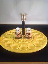 Vintage Ceramic Deviled Egg, Olive, Salt & Pepper, Brass Candle Holder Made USA