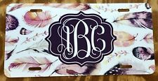 Feather License Plate Personalized Car Tag Rustic Wooden Boho Monogram Car Tag