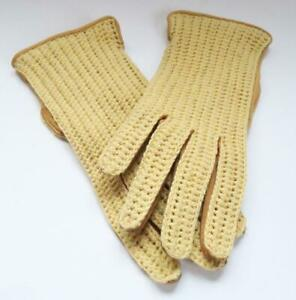 VINTAGE LADIES DRIVING GLOVES CARAMEL LEATHER & CROCHET CLASSIC SMALL 6.5 / 7