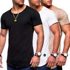 3a9fb6229afe7d Herren Oversize T-Shirt Oval Longshirt Longtee Longline Clubwear NEU