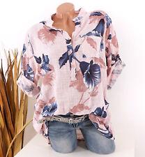 Bluse Damen Tunika 42 44 46 rosa Longbluse Fischerhemd Leinen Optik Blumen Damen