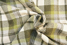 A14 NATURAL ECRU & DARK & LIGHT GREEN PLAID CHECK RUSTIC WOOL & COTTON BLEND