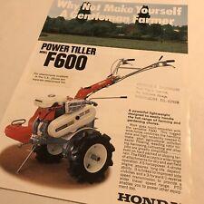 HONDA Power Tiller F600 Original 1980s Vintage Sales Brochure