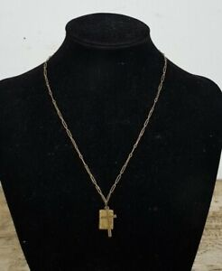 Genuine 9ct Rose Gold Chain Necklace with Cross & Bible Pendants