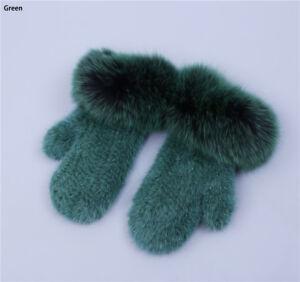 Real Mink Fur Winter Gloves Fashion Multicolor Fox Fur Patchwork Mitten Elastic