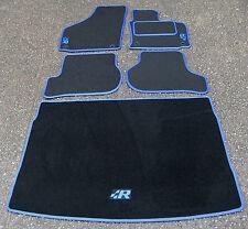 Car Mats to fit Volkswagen Golf Mk5 (04-09) + R Logos + Boot Mat - Black/Blue
