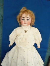 """22"""" GERMAN ANTIQUE DOLL BISQUE HEAD WITH LEATHER BODY.NEEDS A LITTLE TLC"""
