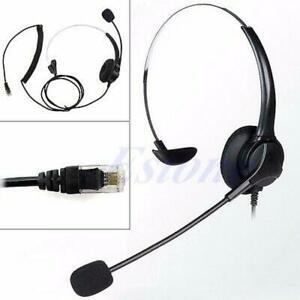 4-Pin RJ11 Monaural Corded Operator Call Center Telephone Headset Headphone BK