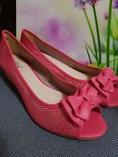 LADIES  LOTUS FUSCHIA PINK LOW  WEDGE  WITH A BEAUTIFUL BOW FOR GLAMOUR WOMEN